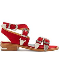 Toga - Cross-strap Buckle Suede Sandals - Lyst