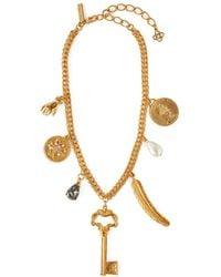 Oscar de la Renta - Pearl Embellished Gold Tone Charm Necklace - Lyst