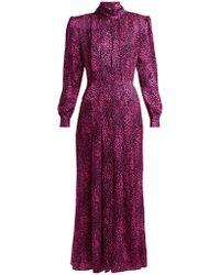Alessandra Rich - Leopard Print Silk Satin Dress - Lyst