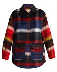 Burberry - Checked Brushed Alpaca And Wool-blend Shirt - Lyst