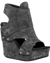 Leon Max - Flaunt : Distressed Suede Wedge Booties - Lyst