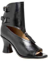 Leon Max - Wander : Burnished Leather Peep-toe Spindle Heels - Lyst