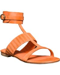 Leon Max - Vellum – Waxed Leather Ankle Wrap Flat Sandals - Lyst