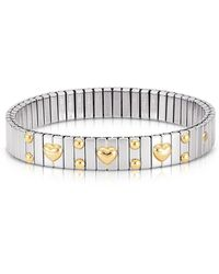 Nomination - Amore Stainless Steel W/golden Heatrs Women's Bracelet - Lyst
