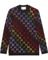 02d7d0d6 Gucci Striped Wool Woodstock Sweater in Black - Lyst