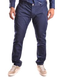 AT.P.CO - Blue Cotton Trousers - Lyst