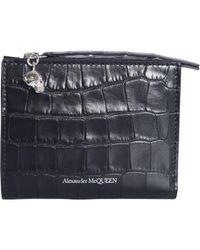 8835855d488 Lyst - Alexander McQueen Rib-cage Embossed Wallet in Black