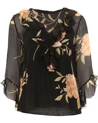 eb4c7d15770bd7 Polo Ralph Lauren Silk Blouse With Black Bow - White in Black - Lyst