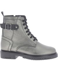 Nicholas - Silver Leather Ankle Boots - Lyst