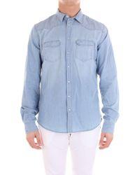 Sun 68 - Light Blue Cotton Shirt - Lyst