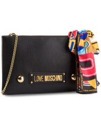 Love Moschino - Black Polyurethane Clutch - Lyst