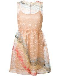 RED Valentino - Pink Silk Dress - Lyst