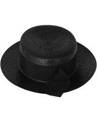 4114d61f3ae Saint Laurent Grosgrain-trimmed Straw Hat in Black - Lyst