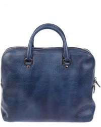 Orciani - Blue Leather Briefcase - Lyst