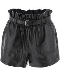 Saint Laurent Black Leather Shorts