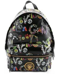 Versus Black Leather Backpack