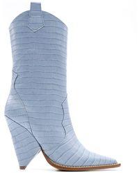 Aldo Castagna - Light Blue Leather Ankle Boots - Lyst