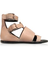 Balmain - Pink Leather Sandals - Lyst