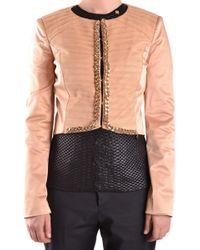 Elisabetta Franchi - Beige Polyester Outerwear Jacket - Lyst