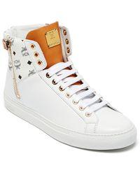 MCM | Women's Visetos Zip High Top Sneakers | Lyst