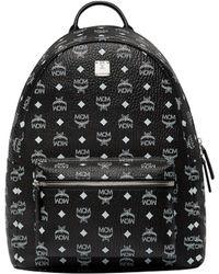 MCM - Stark White Logo Backpack In Visetos - Lyst