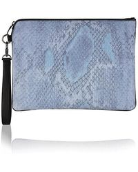 meli melo - Oversized Clutch Bag | Denim Snake Print - Lyst