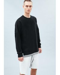 Mennace - Black Drop Shoulder Tape Hem Sweatshirt - Lyst