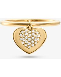 Michael Kors - Kors Heart 14k Gold Plated Sterling Silver Pavé Ring - Lyst