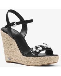 Michael Kors - Jill Floral Sequined Leather Wedge - Lyst