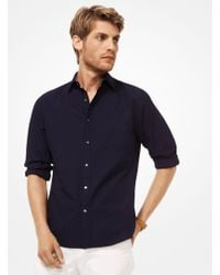 Michael Kors - Slim-fit Embroidered Cotton Shirt - Lyst