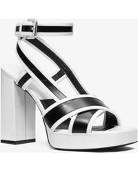 Michael Kors - Janie Patent Leather Platform Sandal - Lyst