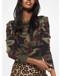 Michael Kors - Rose Embroidered Camouflage Cashmere Pullover - Lyst