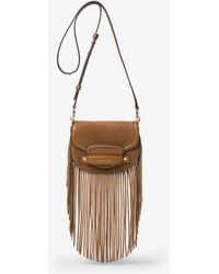 Michael Kors - Cary Small Fringed Suede Saddle Bag - Lyst