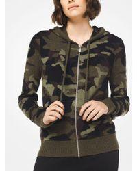 Michael Kors - Felpa in cashmere con cappuccio, zip e stampa camouflage - Lyst
