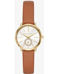 Michael Kors - Petite Portia Gold-tone Leather Watch - Lyst
