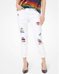 925d8617eca1 MICHAEL Michael Kors - Rainbow Sequined Distressed Jeans - Lyst