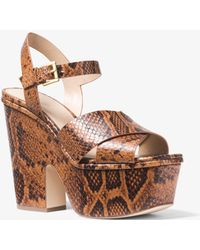 Michael Kors - Divia Snake-embossed Leather Platform Sandal - Lyst