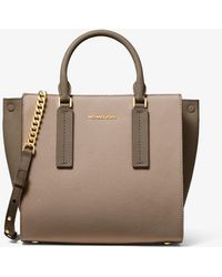 b80bb7534845a8 MICHAEL Michael Kors - Alessa Medium Color-block Pebbled Leather Satchel -  Lyst