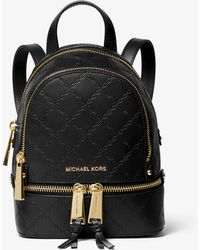 f95507d425cb1 Michael Kors - Rhea Mini Chain-embossed Leather Backpack - Lyst