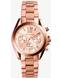Michael Kors - Mini Bradshaw Rose Gold-tone Stainless Steel Watch - Lyst