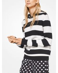 Michael Kors - Striped Cashmere And Cotton Hoodie - Lyst