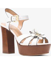Michael Kors - Tara Floral Embellished Leather Platform Sandal - Lyst
