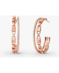 Michael Kors - Precious Metal-plated Sterling Silver Mercer Link Pave Halo Hoops - Lyst