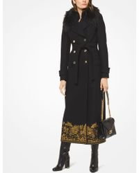 Michael Kors - Embroidered Wool-melton And Faux Fur Coat - Lyst