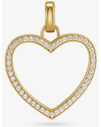 Michael Kors - 14k Gold-plated Sterling Silver Pavé Oversized Heart Charm - Lyst