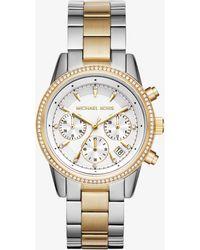 8c3841293 Michael Kors Slim Runway Pave Silver-tone Ceramic Watch in White - Lyst