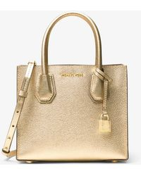 Michael Kors - Mercer Metallic Leather Crossbody - Lyst