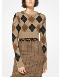 Michael Kors - Cropped Argyle Cashmere Sweater - Lyst