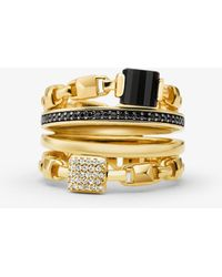 Michael Kors - 14k Gold-plated Sterling Silver Mercer Link Stacked Ring - Lyst