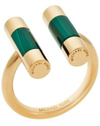Michael Kors - Gold-tone Malachite Split Barrel Ring - Lyst